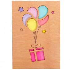 Открытка деревянная Подарок на шари...