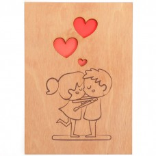 Открытка деревянная Мальчик и девоч...